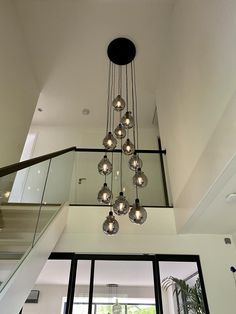 Entryway Stairs, Modern Entryway, Modern Stairs, Stair Lighting, Hallway Lighting, Home Stairs Design, Home Design Plans, Industrial Style Lamps, Glass Stairs