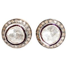 Beautiful Diamond Silver Gold Stud Earrings