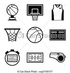 Vector - Basketball icon set in flat design style. - stock illustration, royalty free illustrations, stock clip art icon, stock clipart icons, logo, line art, EPS picture, pictures, graphic, graphics, drawing, drawings, vector image, artwork, EPS vector art