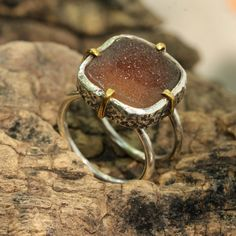 Red orange druzy ring in silver bezel setting with brass prongs – Metal Studio Jewelry