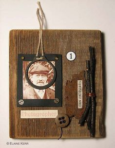 Assemblage on wood.