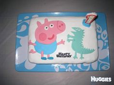 """George Pig - from the cartoon Peppa Pig.  Lucas loves following his bigger sister around, loves anything she likes including her best show in the whole world! """"peppa pig"""".   They both love watching it together, and as the time approaches for it to be in TV, they wait in anticipation for the theme song."""