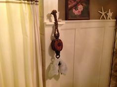 Pulley used as a towel hook!