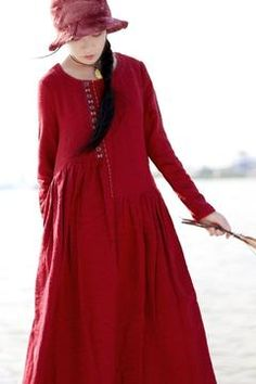 Red Embroidered Linen Dresses Long Sleeve Linen Caftans Gown For Fall/Winter