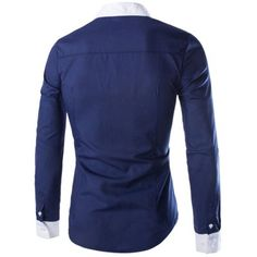 Splicing Polyester Navy Shirt for Men #jewelry, #women, #men, #hats, #watches, #belts, #fashion