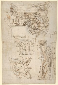 Drawn by Anonymous, French, 16th century – Composite capital, plan, elevation, and details; frieze, detail