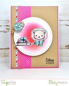 SugarPea Designs ESKIMO KISSES stamp set, die Christmas Holiday Copic Markers Card