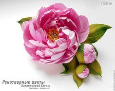 """Купить Брошь """"Императорский пион"""" из фоамирана. - нежное украшение, нежно-розовый, брошь"""