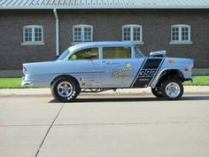 55 Chevy gasser -- love that stripe; the extreme Mopar bumble-bee on a Mopar-powered Chevy. 1955 Chevy, 1955 Chevrolet, Old Race Cars, Us Cars, Rat Rods, Bobbers, Cruisers, Chevy Hot Rod, Old School Cars