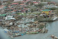 An aerial photo shows damage to Bantayan Island, Philippines, on November 9, 2013.