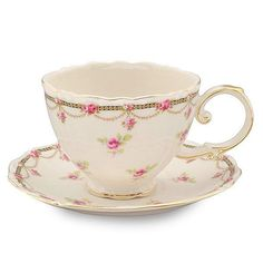 Petite Fleur Porcelain Teacup - Gift Boxed holds a generous 7oz trimmed in 14K gold. Includes 1 teacup and 1 saucer in matching gift box.