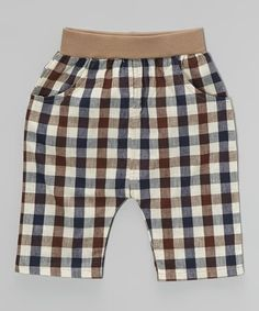 Another great find on #zulily! Blue & Brown Plaid Harem Pants - Toddler & Boys #zulilyfinds