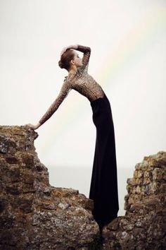 Lines, pose, glam fashion, catch the rainbow - striking outdoor photography; fashion pose
