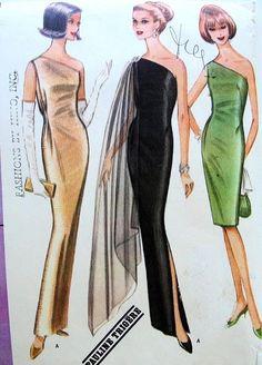 1960s PAULINE TRIGERE ONE SHOULDER EVENING DRESS PATTERN SLIM SHEATH STYLE, SHOULDER SCARF VERSION McCALLS 8042