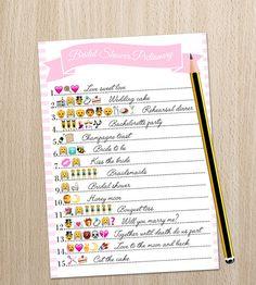 582a13902baf Bridal Shower Game - Wedding Emoji Pictionary - Printable Shower Game -  Instant Download - Print