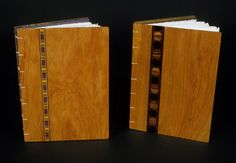 Letterpress printed, Coptic binding with wood inlay covers; by friend Robin Muller, fellow artist/writer... pinned frm Book Arts