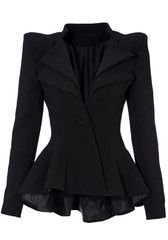 Double Lapel Fit-and-flare Blazer - Black - LookbookStore