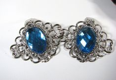 Silver Blue Shoe Clips Filigree Jewelry for your Shoes 11 color choices on Etsy, $15.00