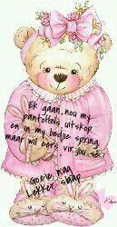 Good Knight, Goeie Nag, Good Morning Good Night, Afrikaans, Qoutes, Teddy Bear, Sleep Well, Animals, Mornings