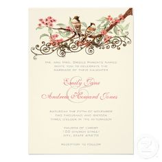 Coral & Gray Vintage Love Birds Wedding Invitation