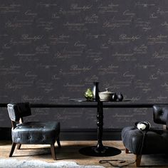 Concrete Script Wallpaper - Designer Black Wall Coverings by Graham  Brown