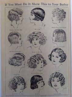 1920s vintage illustration  bobbed hair styles