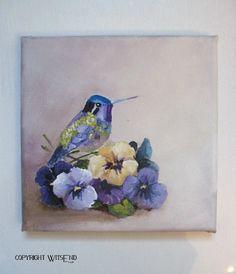 'PANTONE 2014'.  Hummingbird and violets painting original ooak bird flower art by 4WitsEnd, via Etsy.  SOLD