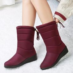 Winter Waterproof Boots Women Mid-Calf Boots Down Shoes Snow Bottes Femme Fur Plush Insole Shoes Black Botas Mujer Invierno Mid Calf Boots, Thigh High Boots, Ankle Boots, Winter Maternity Outfits, Winter Outfits, Warm Snow Boots, Winter Shoes For Women, Waterproof Winter Boots, Fur Boots
