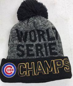e66c1ca7ef49e Chicago Cubs World Series Champions Black   Gray Pom Beanie
