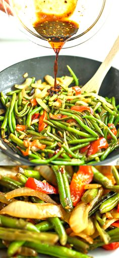 Green Beans Asian Style - Beautifully caramelized onions and peppers are sweet to the taste and make these green beans that much better. #greenbeans #vegetables #dinnerrecipes #dinner #sidedish #sidedishrecipes