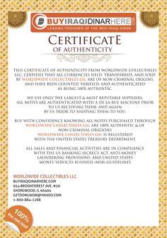 Iraqi Dinar COA Certificate Of Authenticity From Worldwide Collectibles LLC www.buyiraqidinarhere.com #dinar #iraqidinar