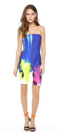 Milly Blue Neoprene 'Eva' Strapless Sheath Dress