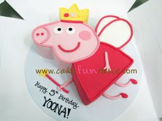 Hmm, again another unknown cartoon that I've never heard of. It is famous though. Mispelt the name, should have been YONNA. Pig Birthday Cakes, Birthday Cake Girls, 3rd Birthday Parties, 2nd Birthday, Birthday Ideas, Cake Templates, Pig Party, Novelty Cakes, Girl Cakes