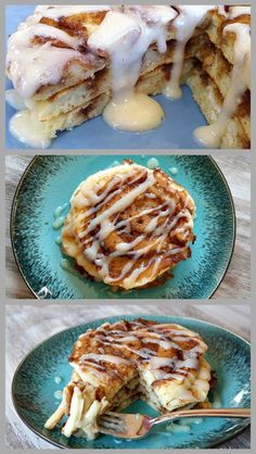 Cinnamon Roll Pancakes #recipe with a complete how-to included.