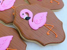 Flamingo Cookies~ By SweetTweets - Summer Flamingo Cookies - 1 Dozen, Pink, Brown, plaque