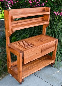 Eli's Potting Bench (Options: Large Size, Mature Redwood, Casters, Two Shelves, No Fold Down Sides, No Copper Inset, No Engraving, Removable Slatted Lid for Left Drawer, Transparent Premium Sealant).