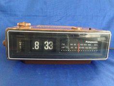 1970's Panasonic RC-6030 Flip Tile Wood Grain AM/FM Electric Alarm Clock Radio Vintage Bedroom Home Electronics by yourmamashouse on Etsy