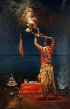 Ganga Aarati In One's Solitude At Dashashvamedh Indian Illustration, Fantasy Art Women, Indian Folk Art, Indian Art Paintings, India Art, Art Corner, Krishna Art, Canvas Art, Mini Canvas