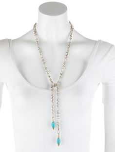 Authentic David Yurman Lariat Bijoux Silver Turquoise Rope Cable Necklace  #DavidYurman #Lariat