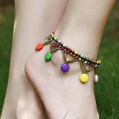 New Fashion Style Ethnic Beads Braided Copper Bell Anklet Bracelet Foot Anklets For Women Foot Jewelry Anklet Bracelet, Anklet Jewelry, Beaded Bracelets, Tassel Bracelet, Chain Jewelry, Jewellery, Beach Foot Jewelry, Beach Feet, Anklet Designs