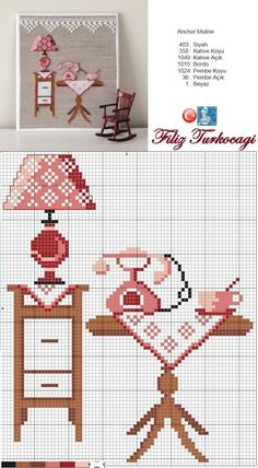 Home pattern designed by Filiz Türkocağı Cross Stitch House, Cross Stitch Kitchen, Mini Cross Stitch, Cross Stitch Charts, Cross Stitch Designs, Cross Stitch Patterns, Cross Stitching, Cross Stitch Embroidery, Hobbies And Crafts