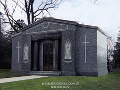 Discover our beautiful bird granite mausoleum design featuring a gorgeous floral arrangement and a bronze decorative door. Contact us if you love this design. 2017 Design, Beautiful Birds, Funeral, Custom Design, Construction, Memories, Mansions, Architecture, House Styles