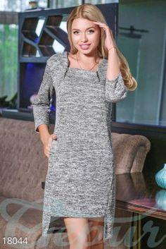 Асимметричное платье меланж фото 1