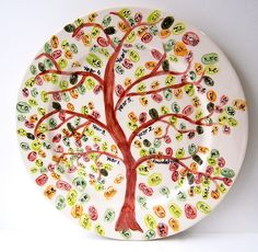 """This fingerprint tree is a leaving present for a school teacher. Each branch has an initialled fingerprint for individual pupils in the school year. What a lovely keepsake organised by """"Pottering About""""."""