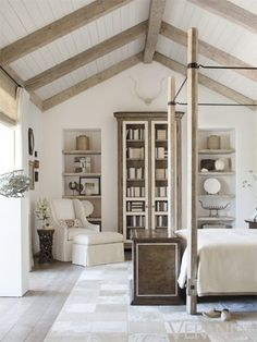 White washed beams & beadboard