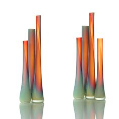 Breath-takingly beautiful colors and organic shape.  Tubes Cherry & Turquoise Etched  By Eva Milinkovic & Kriston Gene