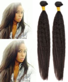 3Bundles 50g/pc Natural Black Kinky Straight Coarse Yaki Human Hair Extension #WIGISS #HairExtension
