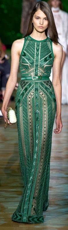 stunning green gown - elie saab  RTW SS 2018 - style | gorgeous gowns - runway - sequins - formal - beautiful - dramatic - emerald - dress - dresses - idea - ideas - inspiration