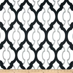 RCA Palladio Black from @fabricdotcom  Screen printed on soft polyester duck; this versatile medium weight fabric is perfect for window accents (draperies, valances, curtains and swags), accent pillows, duvet covers and upholstery. Create handbags, tote bags, aprons and more. Colors include black, grey and a white background. Made in the USA.