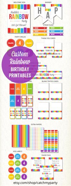 Custom Rainbow Girl Birthday Party Printables | CatchMyParty.com